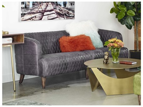 Moe's Home Collection Magdelan Antique Ebony Tufted Leather Sofa MEPK107747