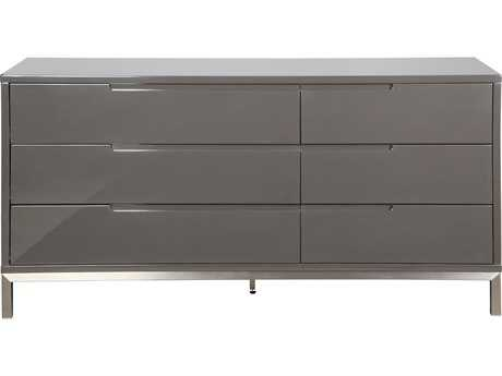 Moe's Home Collection Naples Six Drawer Grey Dresser With Stainless Steel Legs