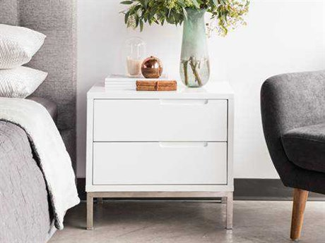 Moe's Home Collection Naples White 24'' x 18'' Nightstand MEER119918
