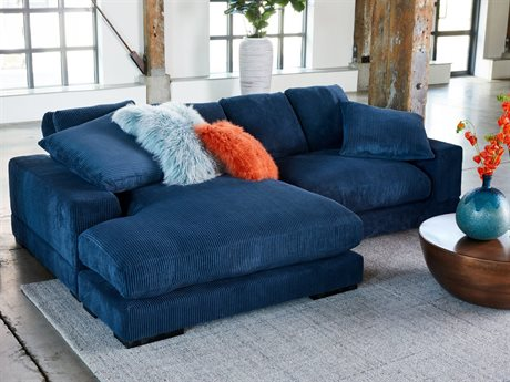Moe's Home Collection Plunge Light Blue Two-Piece Sectional Sofa with Left Arm Facing Chaise