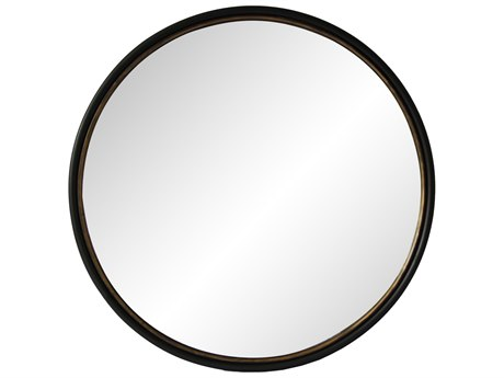 Moe's Home Collection Sax Black 38'' Wide Round Wall Mirror