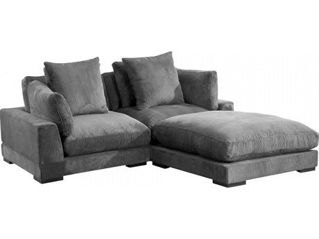 Moe's Home Collection Tumble Dark Grey Two-Piece Sectional Sofa with Ottoman