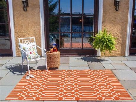Momeni Baja Orange Rectangular Area Rug PatioLiving