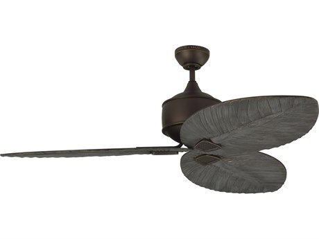 Monte Carlo Fans Delray Roman Bronze 56'' Wide Outdoor Ceiling Fan with Dark Walnut Blades MCF3DLR56RB