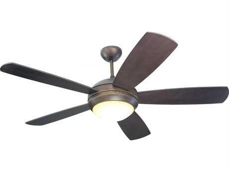 Monte Carlo Fans Discus Roman Bronze 52'' Wide Indoor Ceiling Fan with Light MCF5DI52RBDL