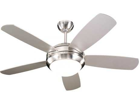 Monte Carlo Fans Discus II Brushed Steel 44'' Wide Indoor Ceiling Fan with Light MCF5DI44BSD