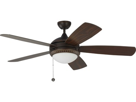 Monte Carlo Fans Discus Ornate Roman Bronze 52'' Wide LED Indoor Ceiling Fan with American Walnut Blades MCF5DIO52RBD