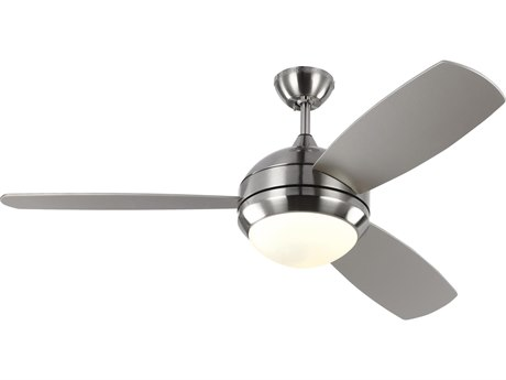Monte Carlo Fans Discus Trio Brushed Steel 52'' Wide LED Indoor / Outdoor Ceiling Fan with Silver Blades MCF3DIR52BSDV1