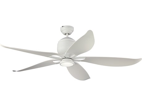 Monte Carlo Fans Lily Matte White Two-Light 56'' Wide LED Indoor / Outdoor Ceiling Fan MCF5LLR56RZWDV1