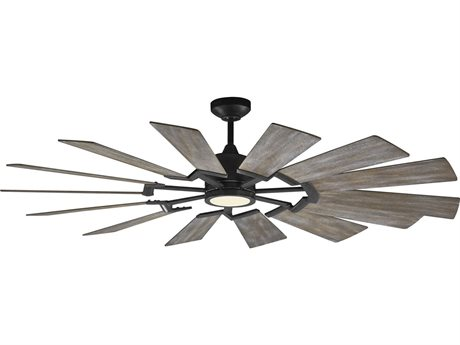 Monte Carlo Fans Prairie Aged Pewter 62'' Wide LED Indoor Ceiling Fan with Light Grey Weathered Oak Blades MCF14PRR62AGPD