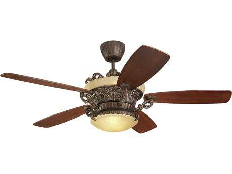 Monte Carlo Fans Strasburg Tuscan Bronze 56'' Wide Indoor Ceiling Fan with Light MCF5SBR56TBDL