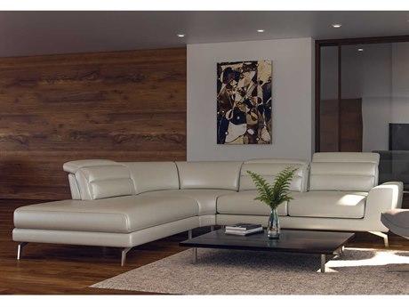 Moroni Oskar Contemporary Pale Grey Adjustable Two-Piece Sectional Sofa