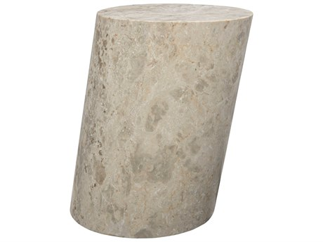 Noir Furniture White Marble 13'' Wide Cliff Accent Stool NOIAM197S