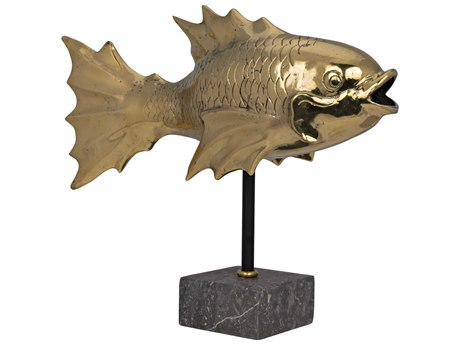 Noir Furniture Brass Fish On Stand