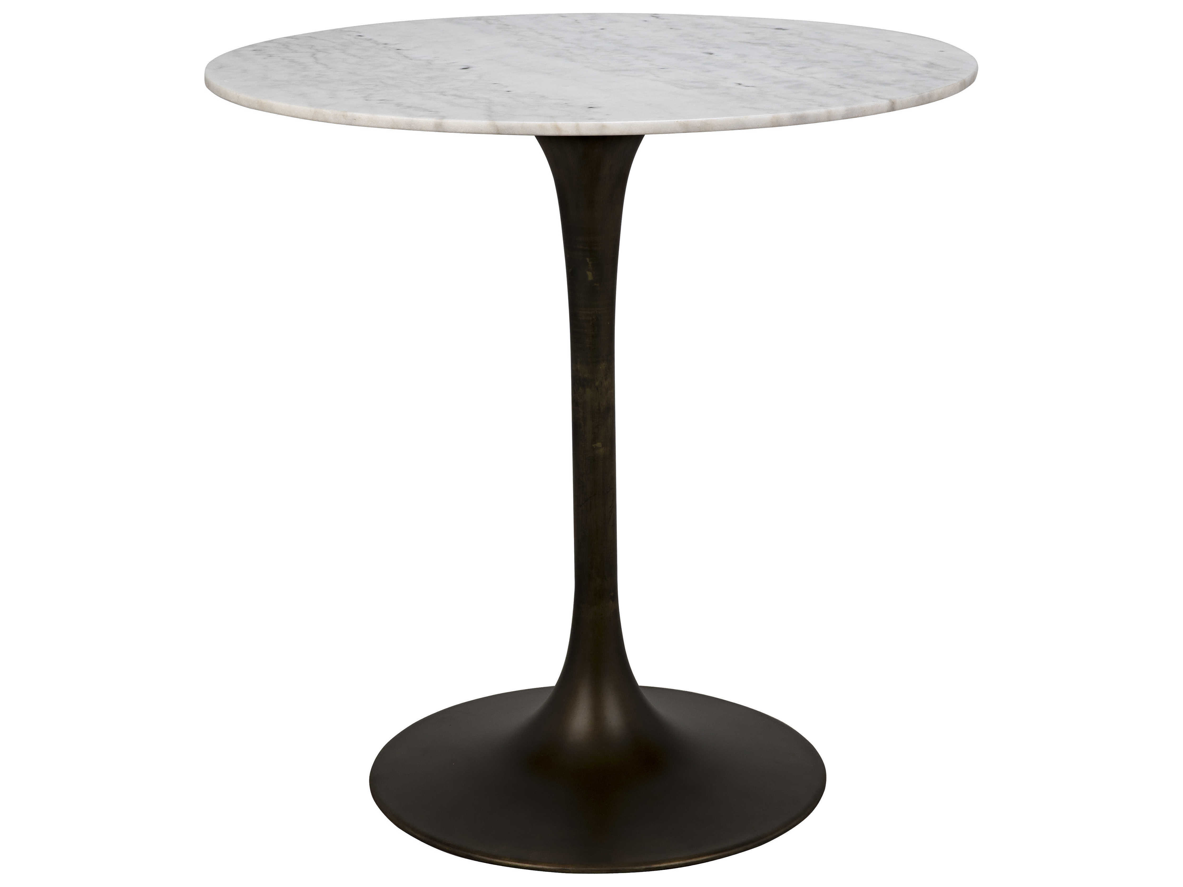 Noir Furniture Aged Brass 40\'\' Wide Round Bar Height Dining Table