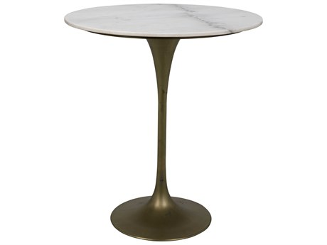 Noir Furniture Antique Brass 36'' Wide Round Bar Height Dining Table NOIGBAR001MB36