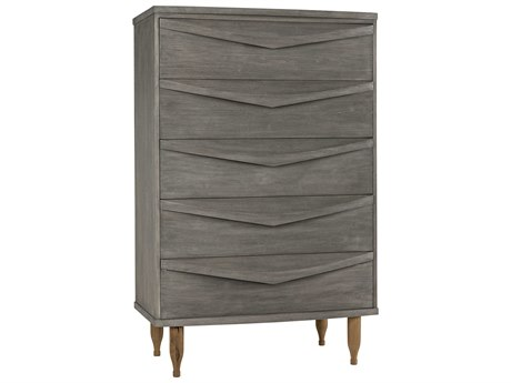 Noir Furniture Distressed Grey 5 Drawers Chest of