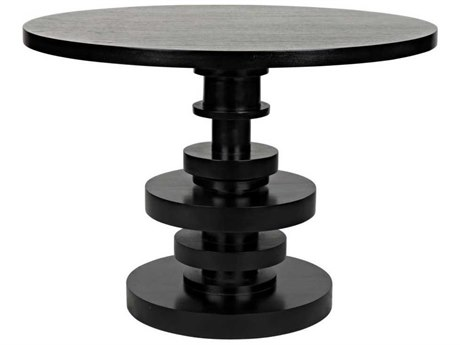 Noir Furniture Corum Hand Rubbed Black 42'' Wide Round Dining Table