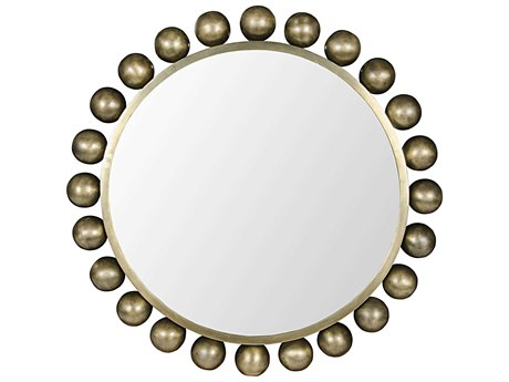 Noir Furniture Cooper Antique Brass 33'' Round Wall Mirror