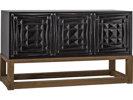 Noir Furniture Oliver Hand Rubbed Black & Teak 56'' x 18.5'' Sideboard NOIGCON279HBT
