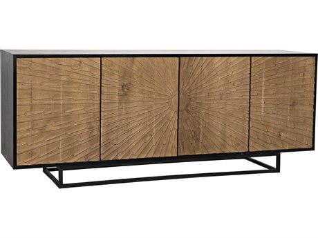Noir Furniture Ra Hand Rubbed Black & Teak 76'' x 20'' Sideboard NOIGCON280HBT