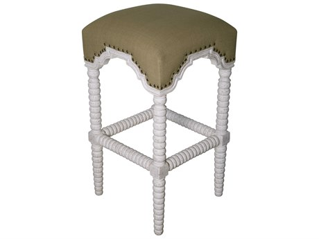 Noir Furniture Dining White Wash / Olive Cotton Side Bar Height Stool