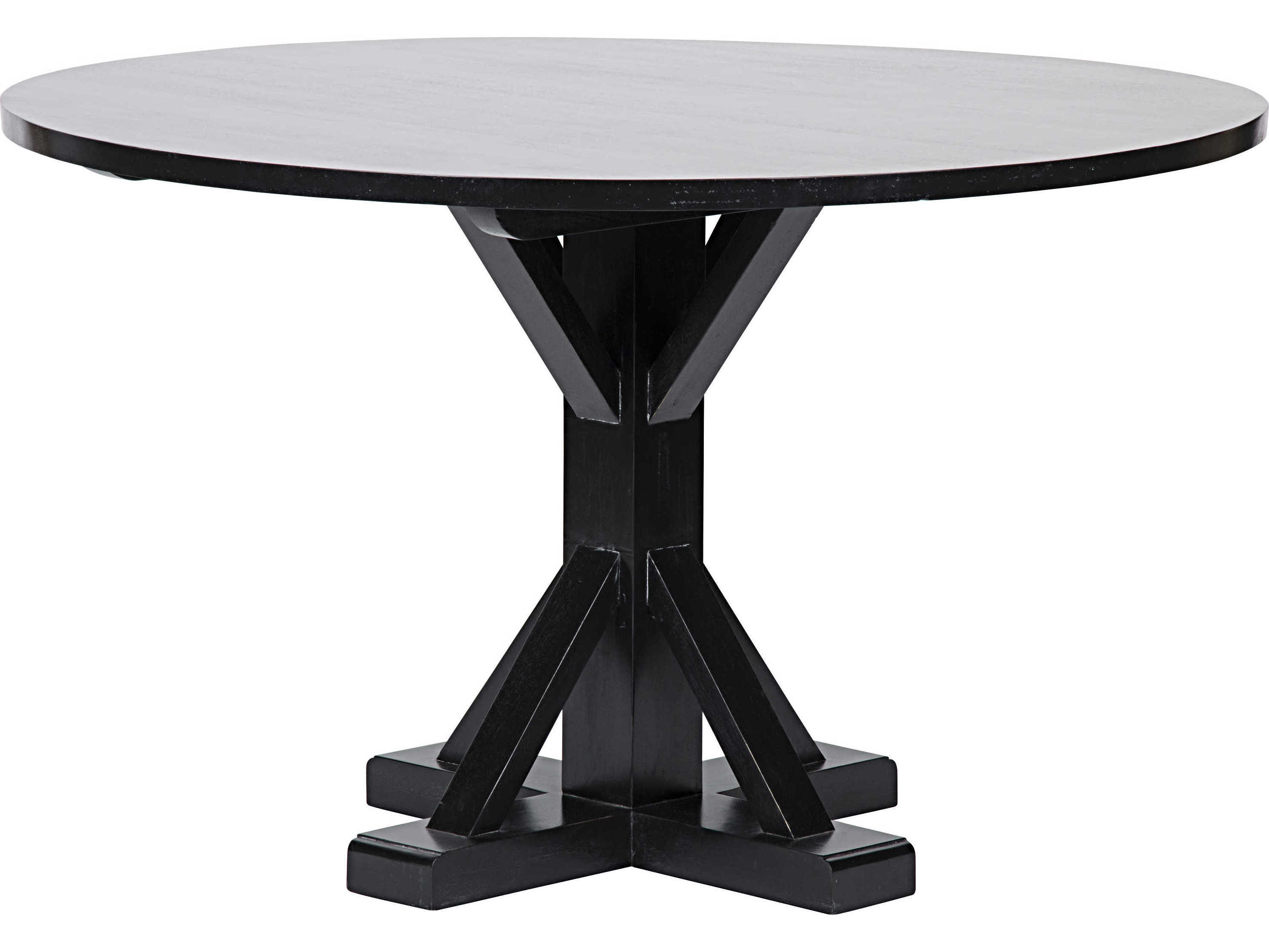 Noir Furniture Criss Cross Hand Rubbed Black 48 Round Dining Table Noigtab419hb48