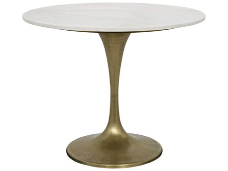 Noir Furniture Laredo Antique Brass & Quartz 36'' Round Dining Table NOIGTAB514MB36