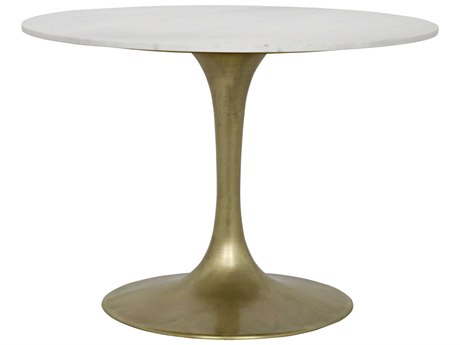 Noir Furniture Laredo Antique Brass & Marble 40.5'' Round Dining Table NOIGTAB514MB40
