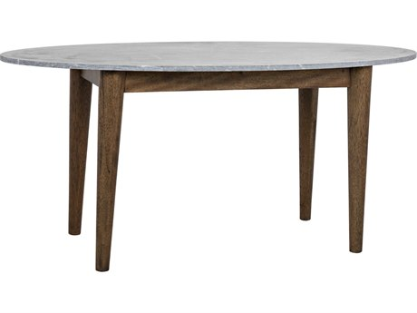 Noir Furniture Surf Dark Walnut & Stone 66'' x 30'' Oval Dining Table NOIGTAB524DW