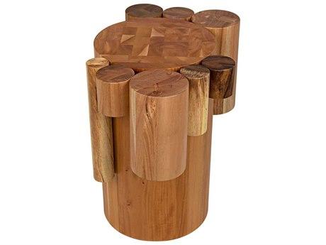 Noir Furniture Teak Oil 23'' Wide Round Drum Table