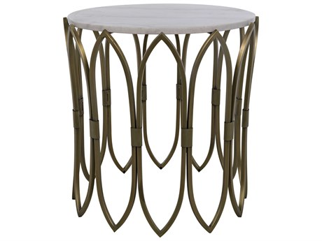 Noir Furniture Antique Brass 22'' Wide Round End Table