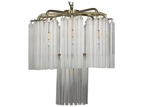 Noir Furniture Babylon Antique Brass Nine-Light 28'' Wide Pendant Light