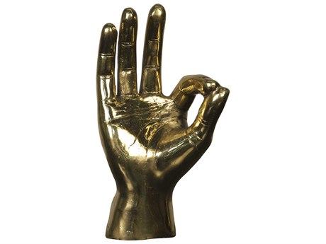 Noir Furniture Brass Ok Sign Sculpture