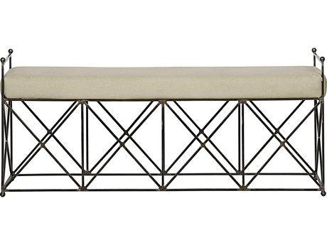 Noir Furniture Living Room Accents Metal / Light Linen Accent Bench NOIGBEN110