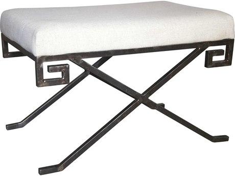 Noir Furniture Living Room Accents Metal / Light Linen Accent Stool NOIGSTOOL135MT