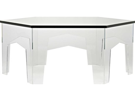 Noir Furniture Kame Acrylic Acrylic & Glass 45'' x 45'' Hexogonal Coffee Table NOIGTAB1014