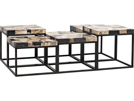 Noir Furniture Plato Metal & Fossil 59'' x 32'' Square Coffee Table NOIGTAB1029