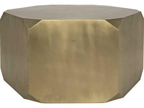 Noir Furniture Tytus Antique Brass 36'' x 36'' Hexogonal Coffee Table NOIGTAB1033MB