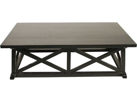 Noir Furniture Sutton Hand Rubbed Black 60'' x 34'' Rectangular Coffee Table NOIGTAB121HB