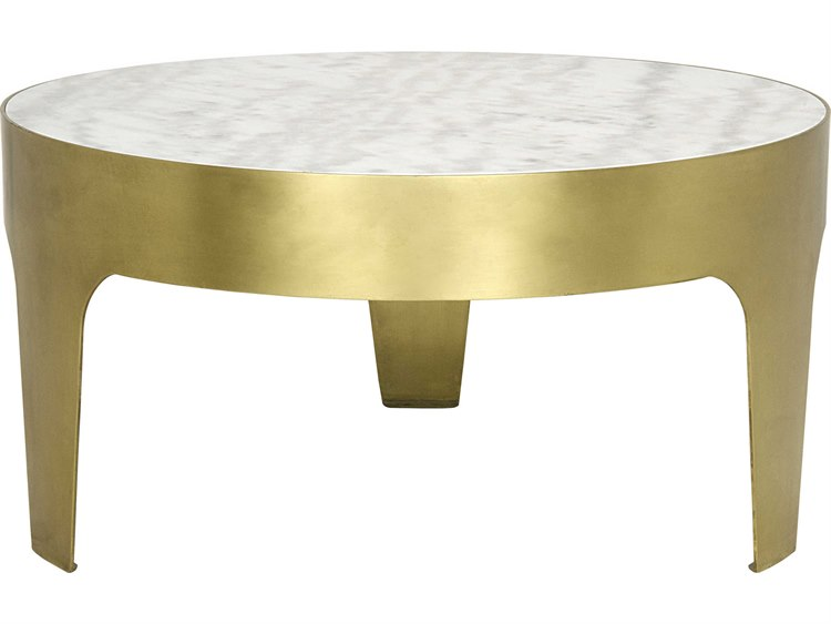 Noir Furniture Cylinder Antique Brass 36 Round Coffee Table