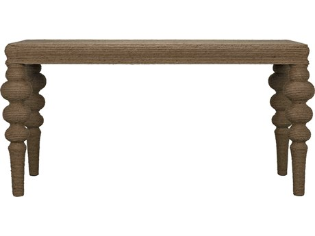 Noir Furniture Turned Leg Ismail Elm & Rope 60'' x 20'' Rectangular Console Table