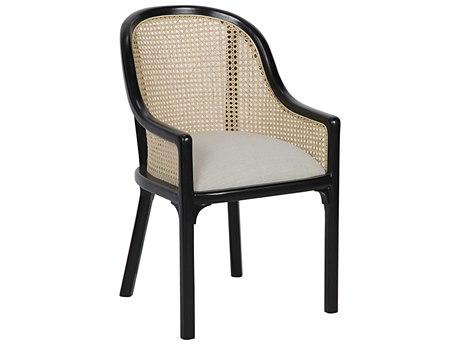 Noir Furniture Gaston Light Linen & Hand Rubbed Black Dining Arm Chair NOIGCHA258HBLN