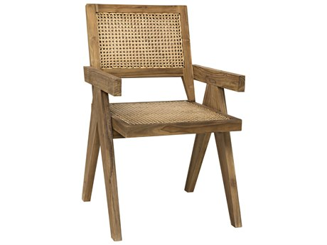 Noir Furniture Jude Teak & Caning Dining Arm Chair NOIGCHA278T