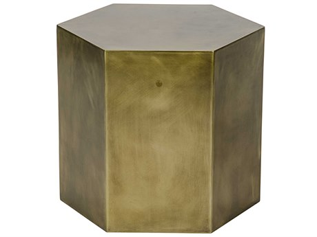 Noir Furniture Aria B Antique Brass 20'' Octagonal Drum Table NOIGTAB702MBB