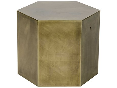 Noir Furniture Aria C Antique Brass 20'' Octagonal Drum Table NOIGTAB702MBC