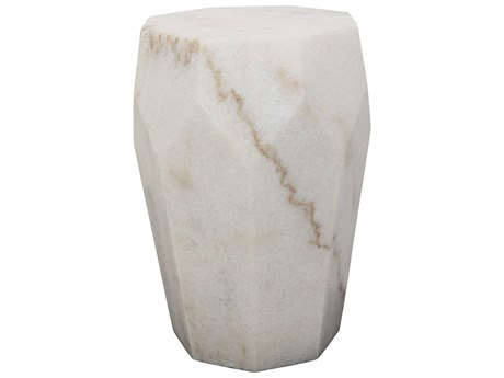 Noir Furniture Monolith White Stone 13'' Octogonal  Round Drum Table NOIGTAB819