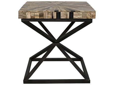 Noir Furniture Peleus Fossil & Metal 21'' Square Side Table NOIAI103