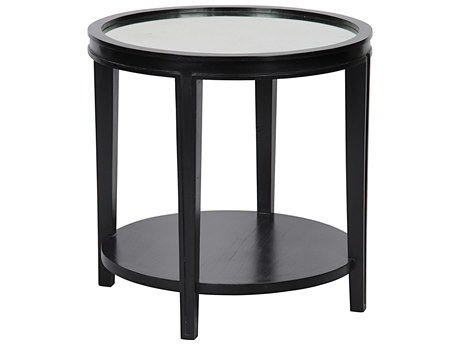 Noir Furniture Living Room Accents Hand Rubbed Black 26'' Wide Round End Table