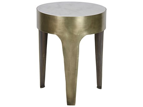 Noir Furniture Cylinder Gold 18'' Round Small Side Table